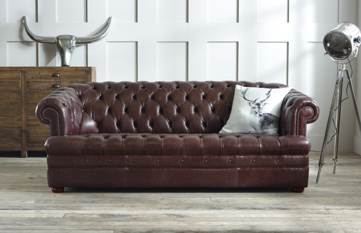 Superbe Baron Brown Leather Chesterfield Sofa