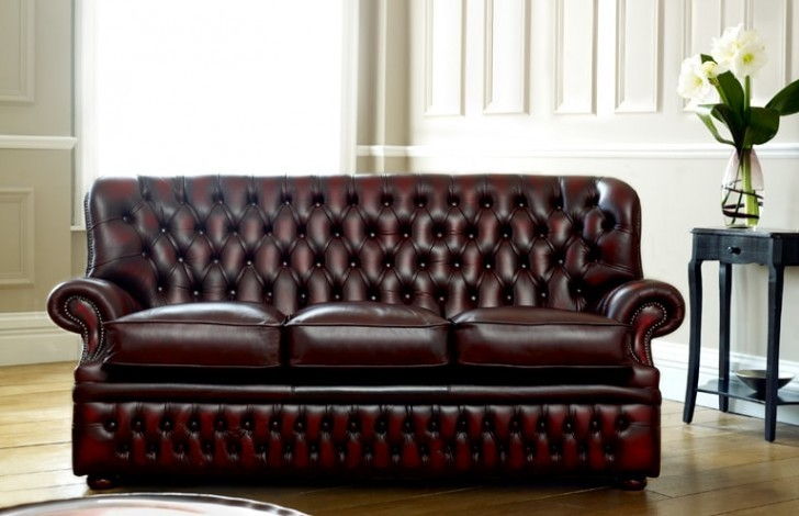 Monks Red Leather Chesterfield
