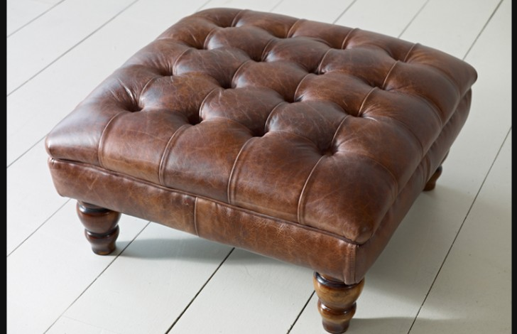 Balston Leather Chesterfield Footstool