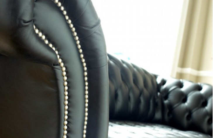 Balston Black Leather Chesterfield