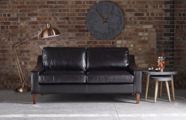 Bedford Black Leather Sofa