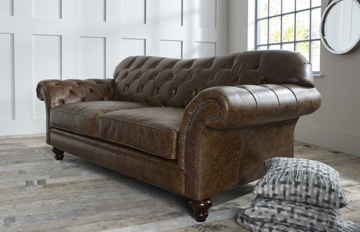 Drummond Vintage Brown Leather Sofa