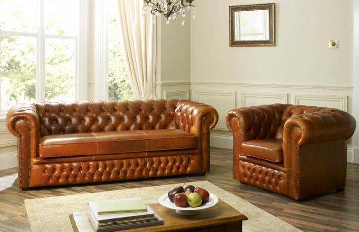 Heaton Leather Chesterfield Sofa