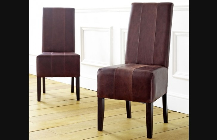 Idaho Deep Tramlined Leather Dining Chairs