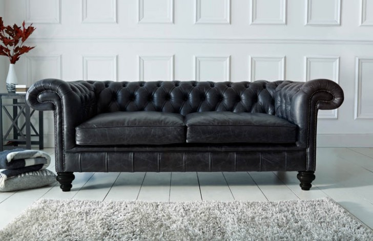 Paxton Black Leather Chesterfield
