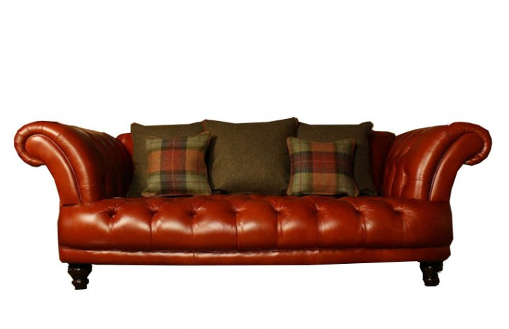 Edmund Vintage Brown Leather Sofa Chesterfield Company