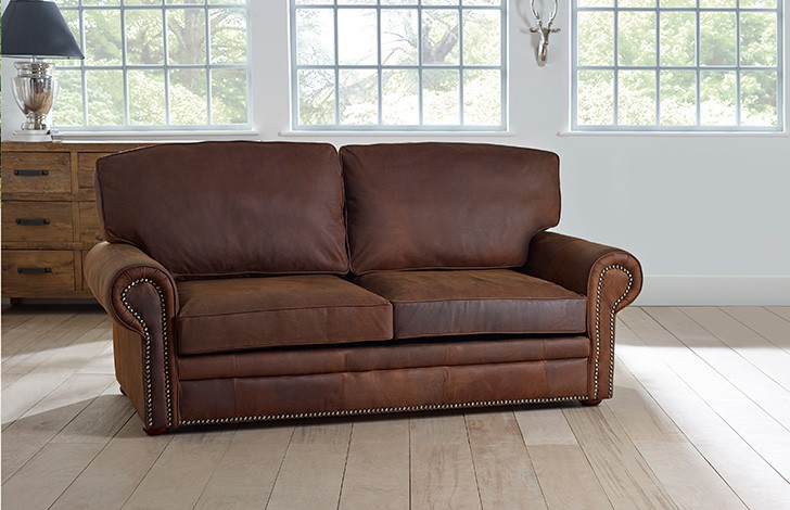 3 seater sb hamilton studded leather sofa bed for Studded leather sofa