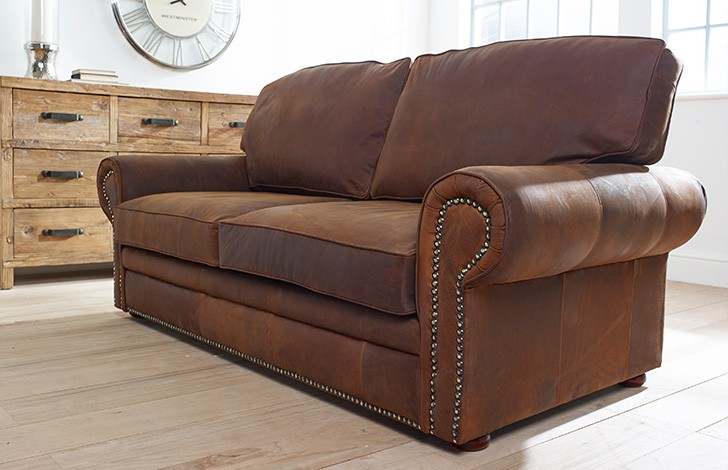 Hamilton studded leather sofa bed chesterfield company for Studded leather sofa