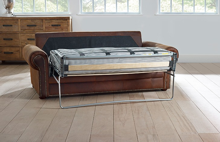 Hamilton studded leather sofa bed for Studded leather sofa