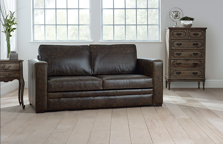shaftesbury distressed leather sofa bed - Distressed Leather Sofa