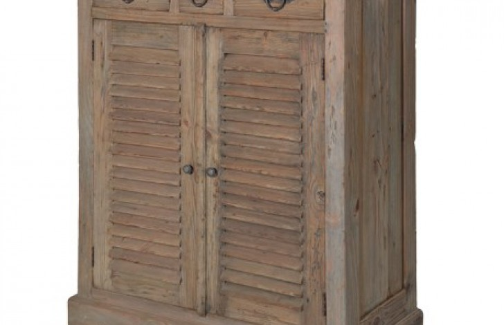 Colonial Reclaimed Pine Louvred Cupboard