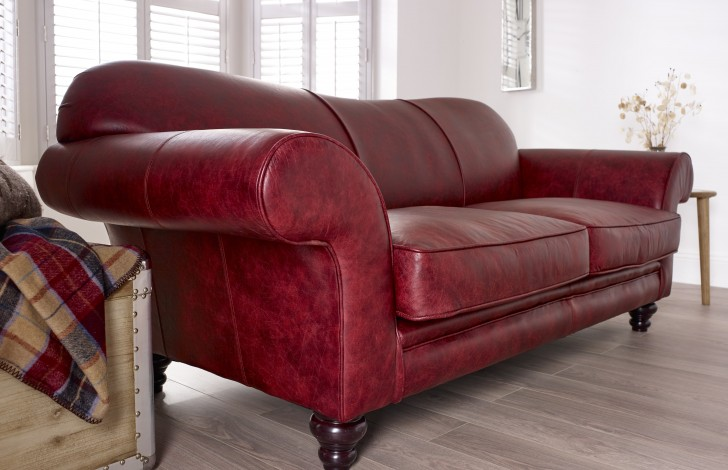St David Curved Back Leather Sofa