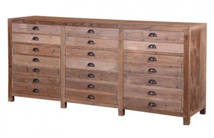Large Rustic Pine Fake Drawer Unit