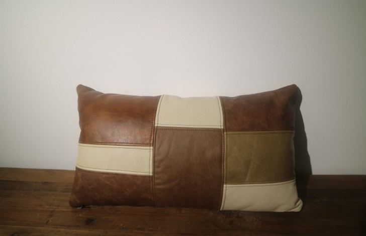 Patchwork Leather Bolster Cushion