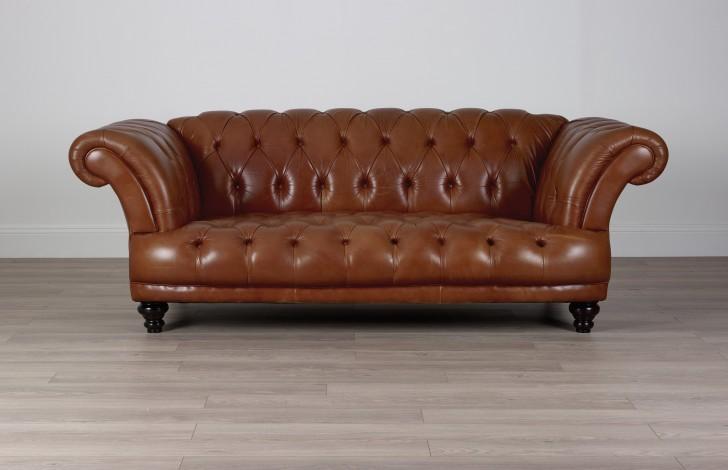 St Edmund Vintage Brown Leather Sofa - 3.5 Seater - Vintage Cognac
