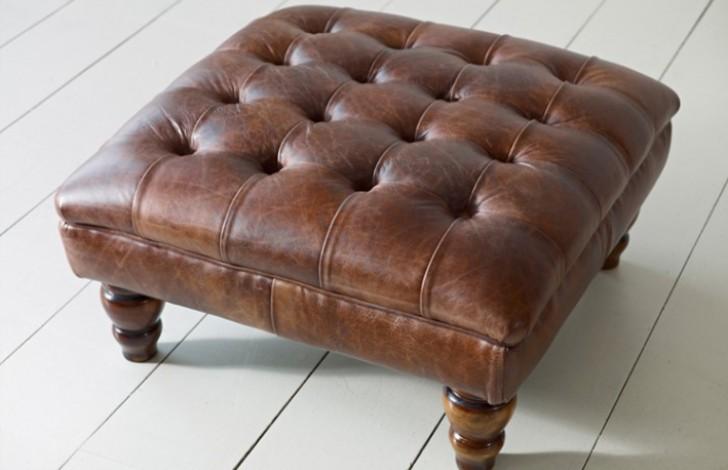 Balston Leather Chesterfield Footstool - Balston Footstool - Auburn