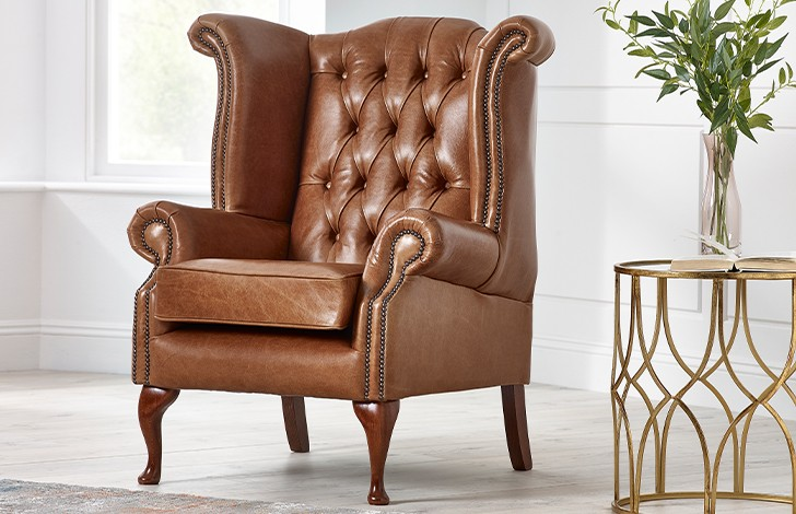 Scroll Wing Chair Chesterfield Leather Armchair