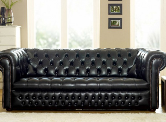 Grey Leather Chesterfield Sofas: Leather Suites & Settees