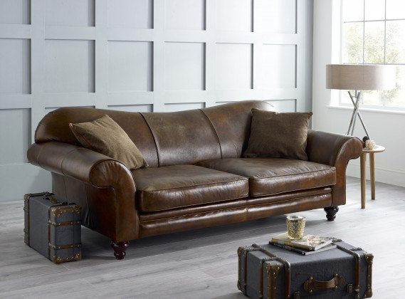 St Charles Hand Antiqued Leather Sofa