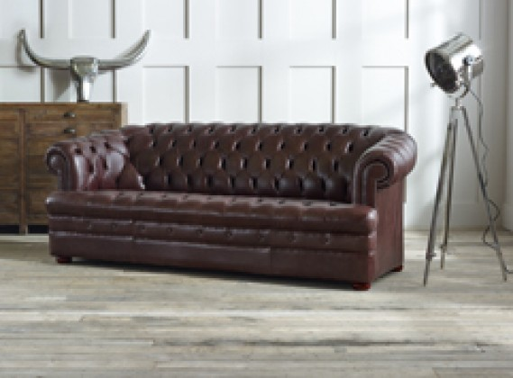 Baron red leather Chesterfield Sofa