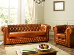 Heaton Leather Chesterfield Sofa Bed