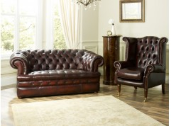 Baron Red Leather Chesterfield Suite