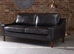 Bedford Black Leather Sofa