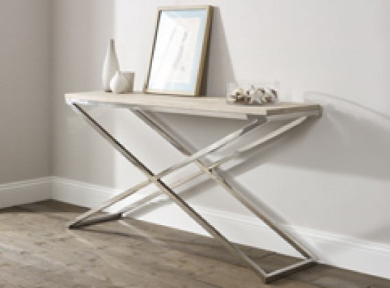 Oak Steel Console Table