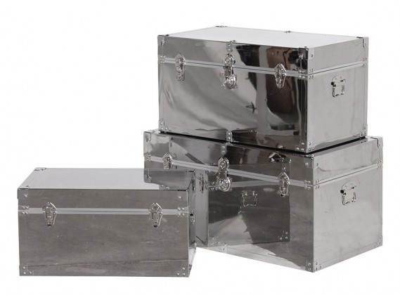 Set Of 3 Stainless Steel Trunks