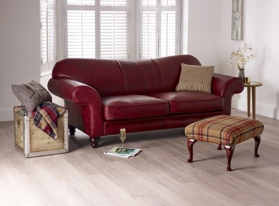 St David Curved Back Leather Sofa