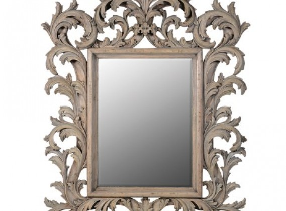 Colonial Reclaimed Pine Elaborate Carved Mirror