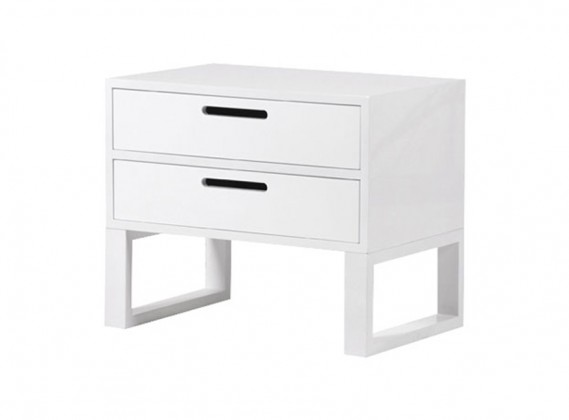 White Gloss 2 Drawer Bedside