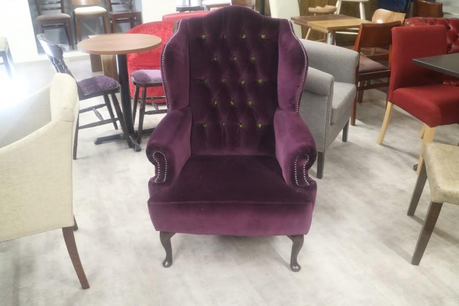 Bespoke Velvet Armchair - Scroll Wing Chair - Aubergine