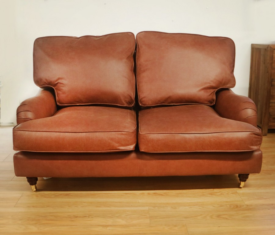 Downton Vintage Leather Sofa - 2 Seater - New England
