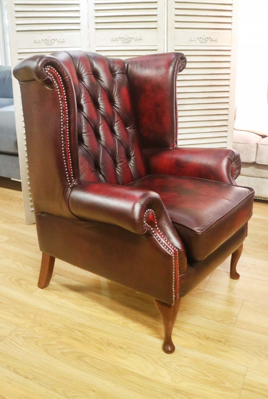 Scroll Wing Chair Chesterfield Leather Armchair - Scroll Wing Chair - Antique Red