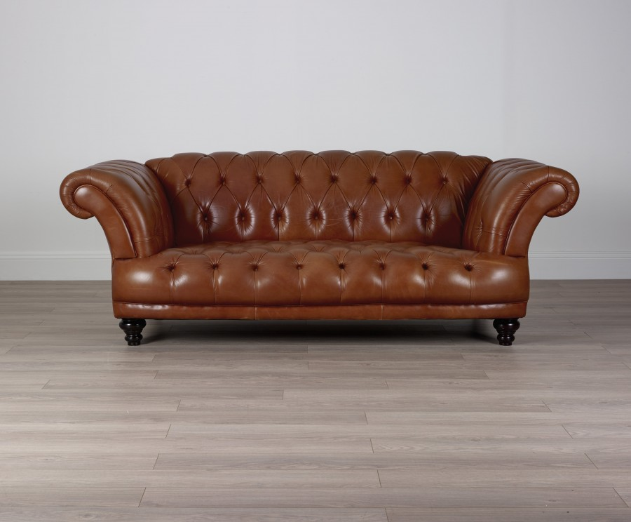 St Edmund Vintage Brown Leather Sofa - 3 Seater - Black