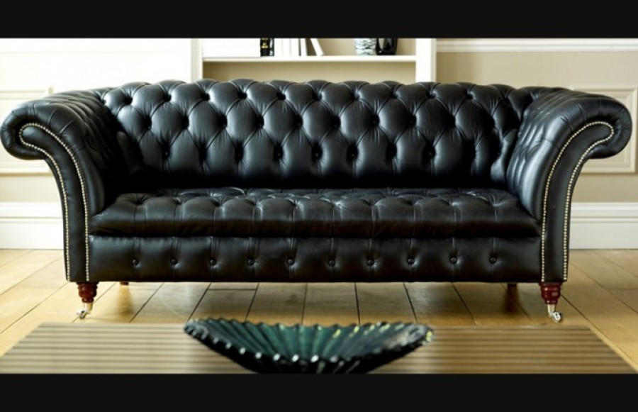 Balston Black Leather Chesterfield - 2 Seater - Shelley Parchment