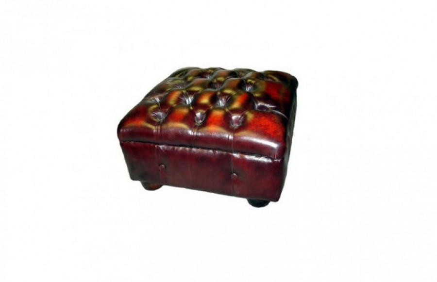 Gladbury Traditional Leather Stool - Gladbury Traditional Leather Stool - Brown