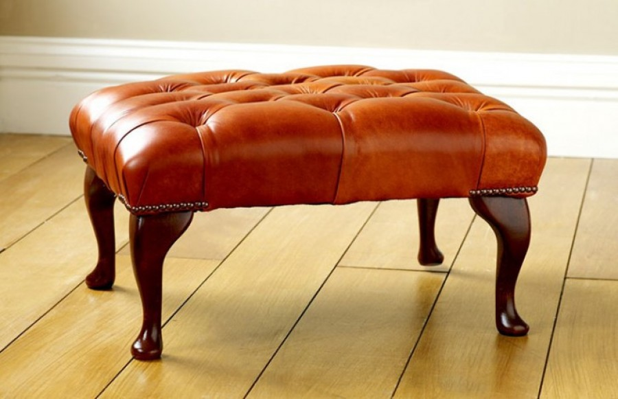 Leather Queen Anne Stool - Queen Anne Stool - Antique Tan