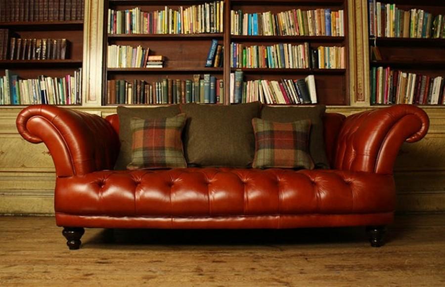 St Edmund Vintage Brown Leather Sofa - 3 Seater - Chestnut