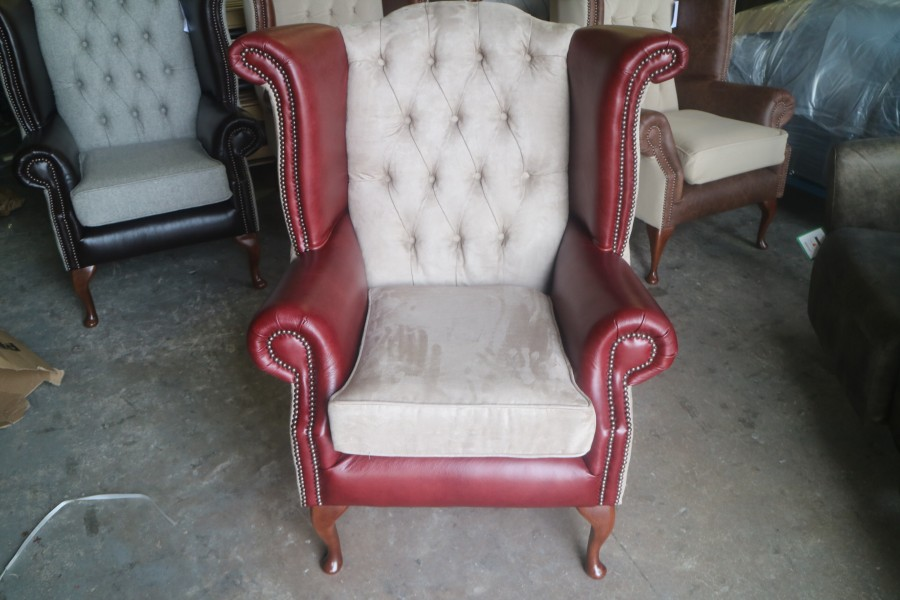 Luxury Scroll Wing Chair - Chair - Fabric BEIGE SUEDE & Leather VINTAGE MAHOGANY