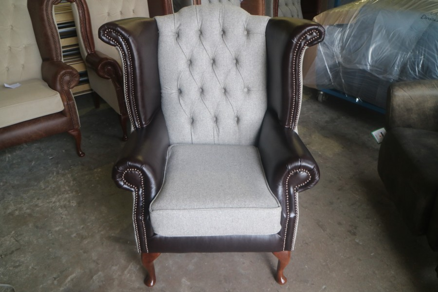 Luxury Scroll Wing Chair - Chair - Fabric MOON DEEPDALE MUSHROOM & Leather DARK BROWN TRUFFLE