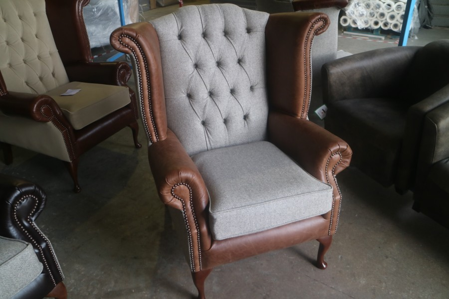 Luxury Scroll Wing Chair - Chair - Fabric MOON DEEPDALE MUSHROOM & Leather SPICE VINTAGE