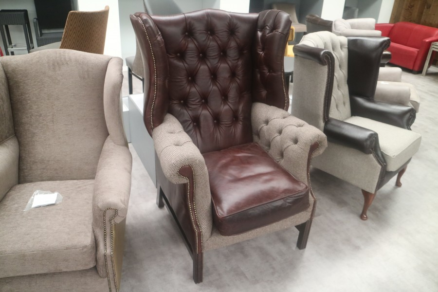 Manchester Vintage Leather Fireside Armchair - Leather Fabric Mix
