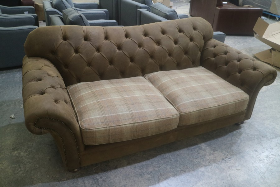Arundel Vintage Brown Leather Sofa - 3 Seater - De Ja Vu Holster + Moon Wool LF Mix
