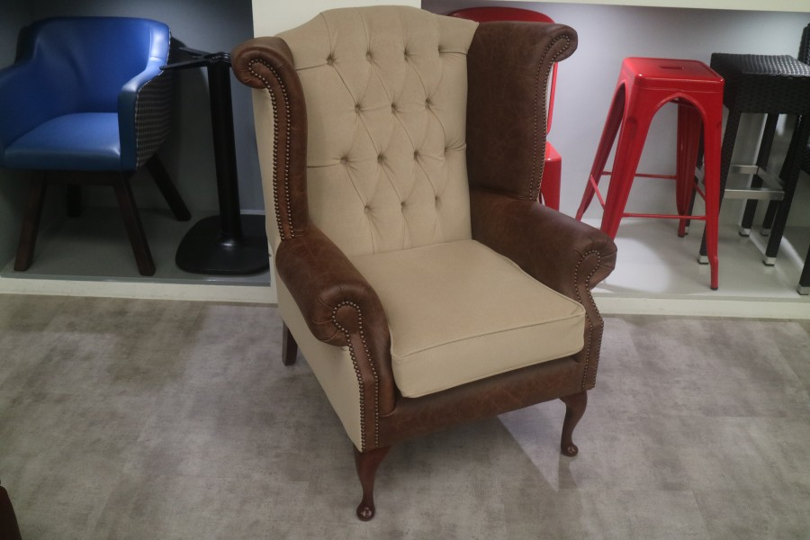 Scroll Wing Chesterfield Leather Armchair - Leather/Fabric mix
