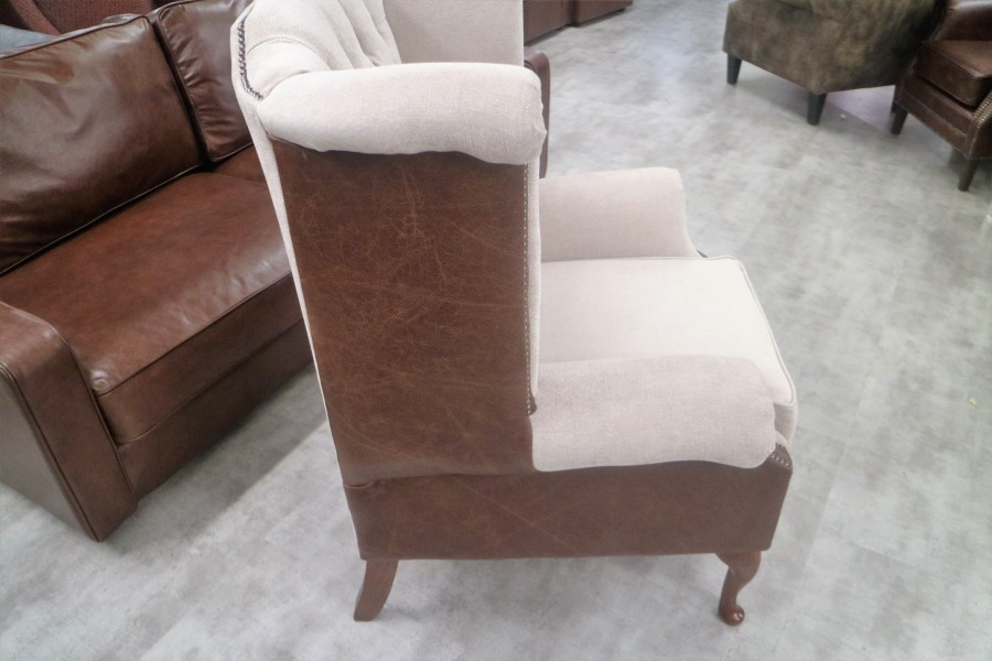 Luxury Scroll Wing Chair - A - Fabric BEIGE SUEDE & Leather VINTAGE MAHOGANY