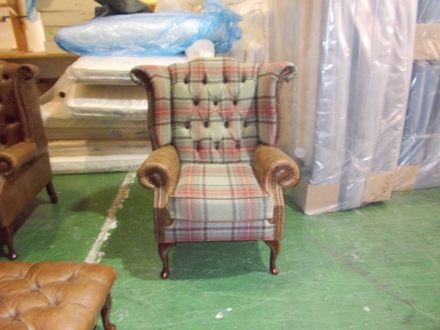 Scroll Wing Chair Chesterfield Leather Armchair - vintage cognac + wool mix