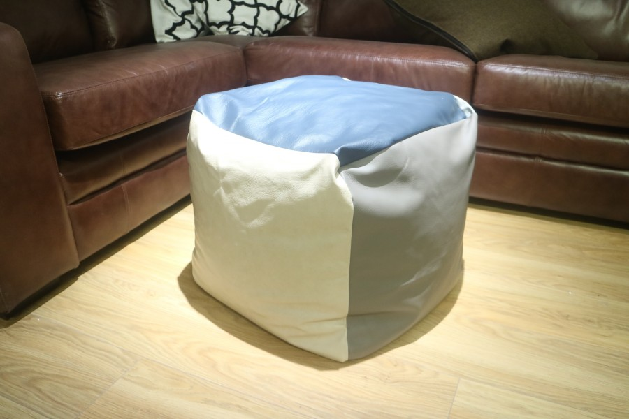 Patchwork Cube Beanbag - Six Panel - Patchwork Leather