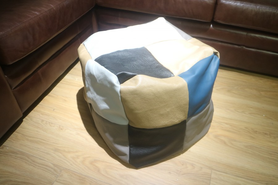 Patchwork Cube Beanbag - 24 Panel - Patchwork Leather